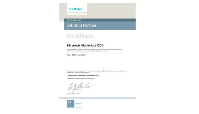 Siemens recognizes Silvertech as a PCS 7 Safety Specialist